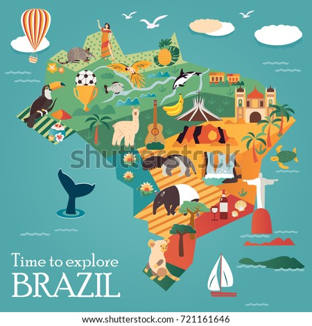 Tourist map of Brazil with landmarks and animals. Can be used as tourist posters, leaflet.