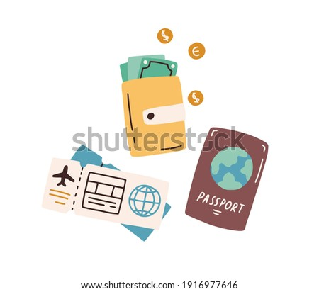 Tourist s items, passport, wallet with cash, boarding pass and flight ticket. Tourism and traveling by air plane concept. Colored flat vector illustration isolated on white background