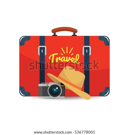 Tourist suitcase, camera and hat. Element for your travel design. Vector illustration.
