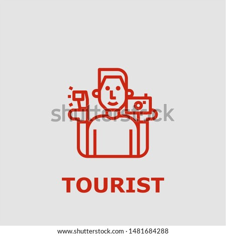Tourist symbol. Outline tourist icon. Tourist vector illustration for graphic art.