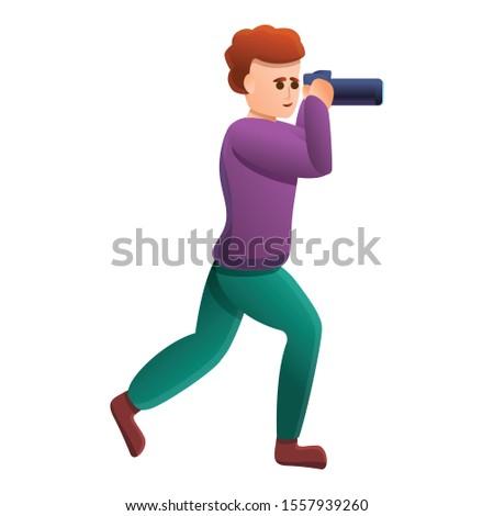 Tourist take photo icon. Cartoon of tourist take photo vector icon for web design isolated on white background