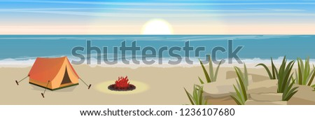 Tourist tent and fire. Sandy coastline with rocks and thickets of grass. Seascape. Vector landscape