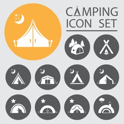 Tourist tent.Icon Set.Vector  illustration.