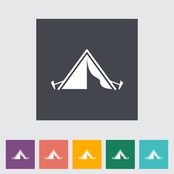 Tourist tent. Single icon. Vector illustration.