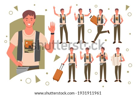 Tourist traveler pose vector illustration set. Cartoon happy young male character portrait, man traveling and waving hand, holding luggage and travel city map in various postures isolated on white