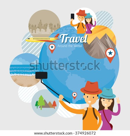 tourist  traveler selfie with