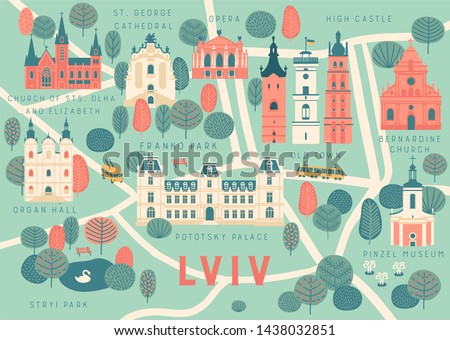 tourist vector map of lviv city