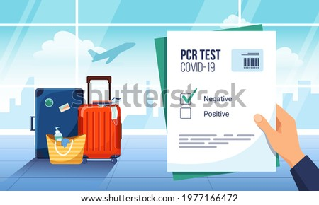 Tourist waiting for departure in an airport lounge with a negative result of a PCR Covid-19 test. Luggage and plane taking off on the background. Coronavirus protection, new normal of travelling