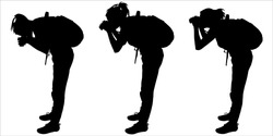 Tourist with a backpack and binoculars. Girls bends down to see the object in their binoculars. Group of women. Ornithologists. Three black female silhouettes are isolated on a white background.