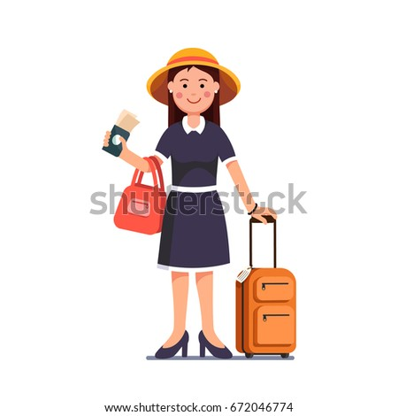 Tourist woman wearing summer dress, hat standing with luggage spinner valise. Traveling girl holding passport & tickets in right hand. Flat style vector illustration isolated on white background.