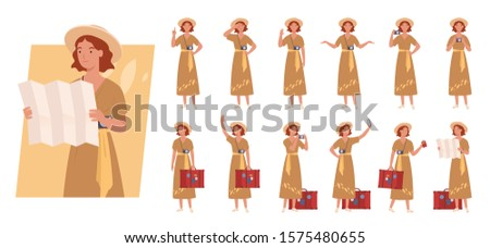 Tourist woman with luggage character set. Different poses and emotions. Vector illustration in a flat style
