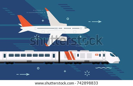 Touristic destinations. Travel by plane or by high speed express train. Airway and railway trip options. Passenger transportation design elements airliner and modern train on abstract background