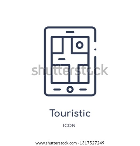 touristic icon from technology outline collection. Thin line touristic icon isolated on white background.