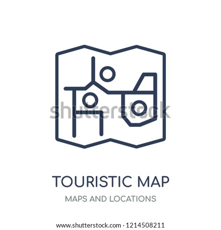 Touristic map icon. Touristic map linear symbol design from Maps and locations collection. Simple outline element vector illustration on white background.