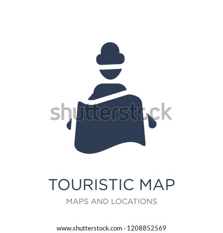 Touristic map icon. Trendy flat vector Touristic map icon on white background from Maps and Locations collection, vector illustration can be use for web and mobile, eps10