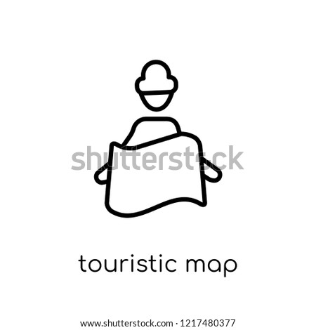 Touristic map icon. Trendy modern flat linear vector Touristic map icon on white background from thin line Maps and Locations collection, editable outline stroke vector illustration