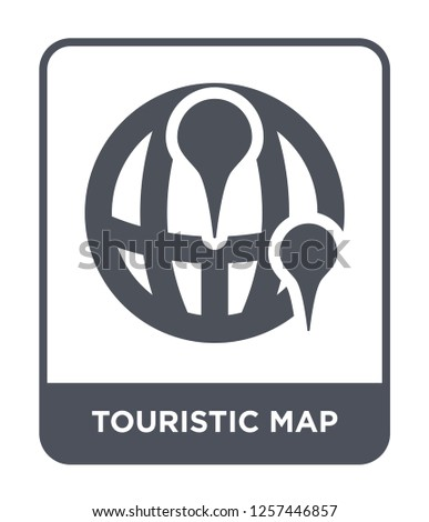 touristic map icon vector on white background, touristic map trendy filled icons from Maps and locations collection, touristic map simple element illustration