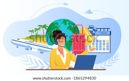 Touristic service with travel company manager. Airline call center manager wearing headset, using laptop, consulting customers. Choosing vacation tour concept. Vector illustration