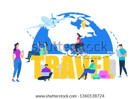 Touristic Travel, Summer Vacation Flat Vector Concept. Traveling People, Tourists Buying Airline Tickets Online, Booking Hotel Room in Internet, Searching Destinations Illustration Isolated on White