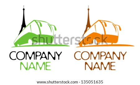 Touristic vector symbol with bus and Eiffel Tower