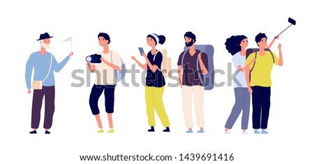 Tourists and tour guide. Young couples family, tourists traveling with camera taking photo in excursion. Summer vacation vector set. Tourist woman and man couple, traveling with guide illustration