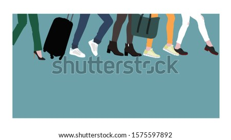 Tourists are boarding with Luggage and hand Luggage. Women's feet in different shoes hurry somewhere, travel concept Stok fotoğraf ©