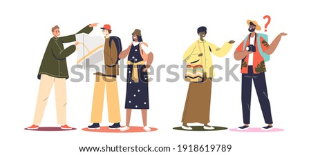 Tourists ask way. Lost travelers during walk ask people for help with finding direction on map to sightseeing. Tourism and travel concept. Flat vector illustration Сток-фото ©