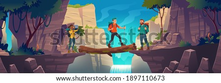 Tourists cross log bridge between mountains above cliff in rock peaks landscape with waterfall and trees background. Girl make picture of beautiful scenery nature view, Cartoon vector illustration