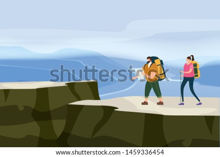Tourists cute couple with map and backpacks performing outdoor touristic activity. Mountain panorama landscape. Adventure travel, hiking walking trip tourism wild nature trekking. Pair of tourists