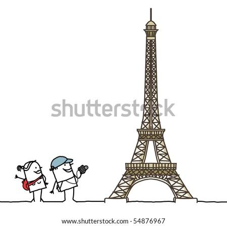 tourists & Eiffel Tower
