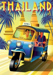 Tourists in a traditional Tuk Tuk taxi at a sightseeing tour in Thailand. Handmade drawing vector illustration. Retro poster.