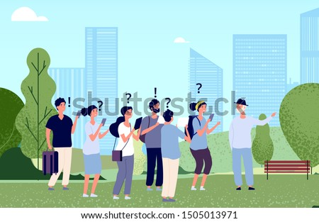 Tourists on excursion. Vector flat travellers characters. Tourists and tour guide illustration ストックフォト ©