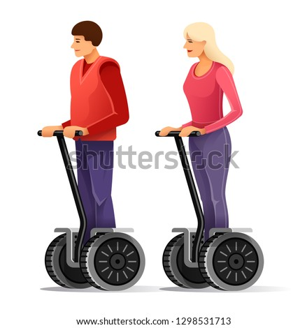 Tourists on segways. Young man and girl drive big electric scooter wheels. Touristic entertainment modern transport for walking tour by city, isolated on white background. Eps10 vector illustration.