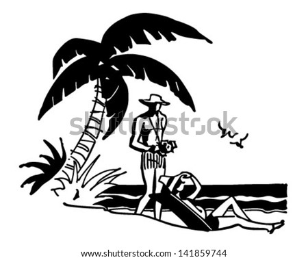 Tourists On Tropical Beach - Retro Clip Art Illustration