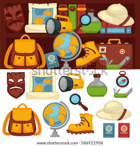 Tourists set of necessary things and clothes for travel. Vector poster of round globe, special clothes, magnifying glass, bottle with green liquid and other objects on white and dark backgrounds