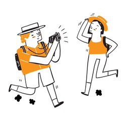 Tourists take photos, Vector Illustration doodle style