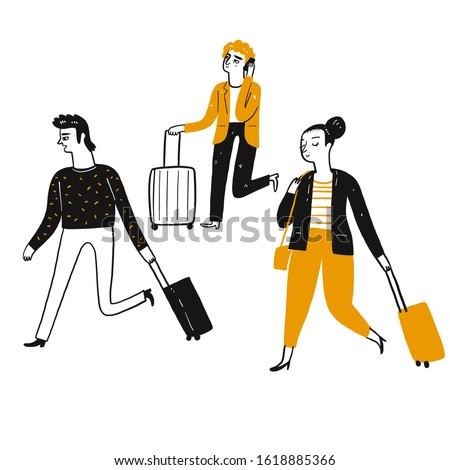 Tourists, travelers pulling suitcases walked to the destination. Line art, Vector Illustration hand drawing doodle style. ストックフォト ©