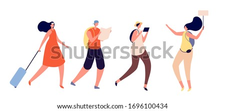 Tourists walking. Travel vacation, person trip luggage. International tour, travelers group explore world. Guided tour vector illustration