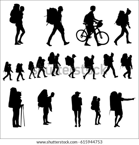 Tourists with backpacks go, silhouette vector