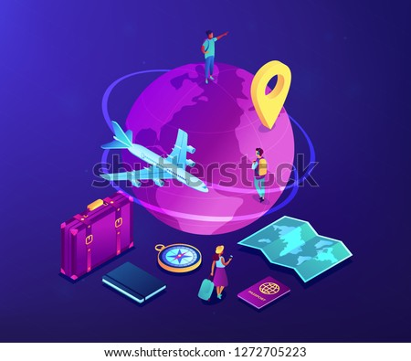 Tourists with suitcase and backpacks travelling around the globe by plane. Global travelling, trip around the world, international tourism concept. Ultraviolet neon vector isometric 3D illustration.