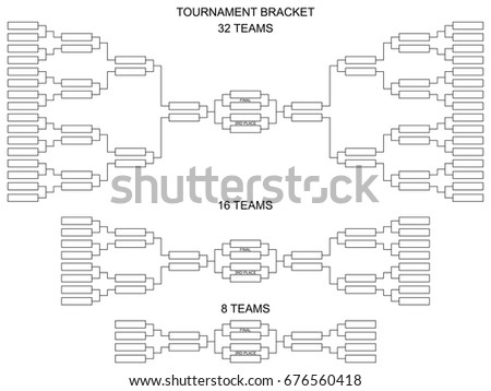 tournament bracket for 32 16 and 8 teams blank vector scheme on a white
