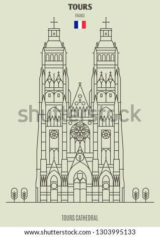Tours cathedral in Tours, France. Landmark icon in linear style