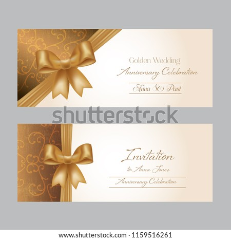 tow pretty wedding invitation with golden ribbon and bow.