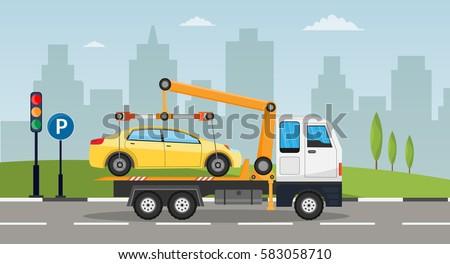 Tow truck city road assistance service evacuator of Online car help Flat design vector background illustration set