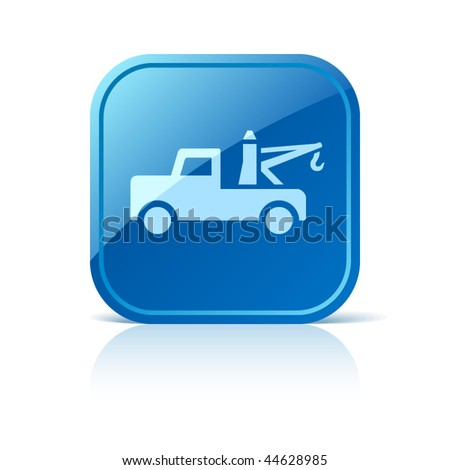 Tow truck icon on blue glossy square web button. Vector automotive symbol
