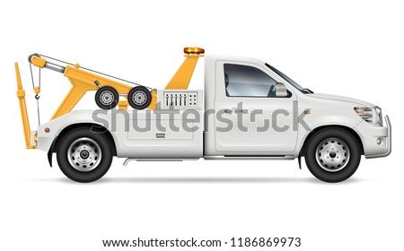 Tow truck vector mockup on white background for vehicle branding and corporate identity, side view. All elements in the groups on separate layers for easy editing and recolor.