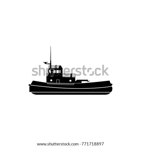 towboat icon. Water transport elements. Premium quality graphic design icon. Simple icon for websites, web design, mobile app, info graphics on white background