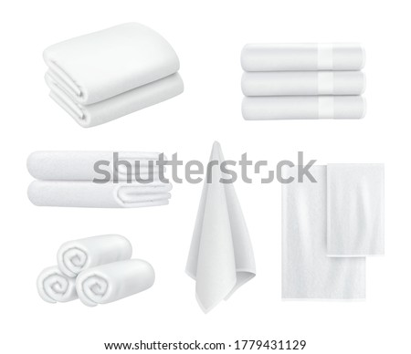 Towel stack. Luxury hotel textile items for bathroom sport or resort spa hygiene items white towels vector collection realistic Stockfoto ©