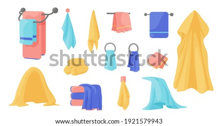 Towels. Cartoon terry cloth hanging on holder, rolled napkin and handkerchief in stack. Kitchen or bathroom hygienic fluffy fabric for wiping. Colorful domestic dishtowel. Vector textile toiletry set Stockfoto ©