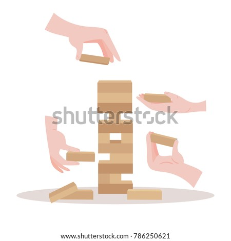 Tower balance game with hands. Wooden stack risk block toy for two or more persons. Take and put process. Vector illustration isolated on white background